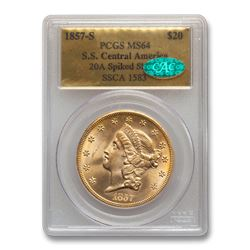 1857-S $20 Lib Gold SS Central America 20A MS-64 PCGS CAC