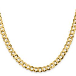 14k Yellow Gold 8.3 mm Solid Light Flat Cuban Chain - 24 in.
