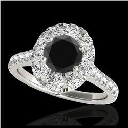 1.25 ctw SI Fancy Blue Diamond Halo Ring 10K White Gold