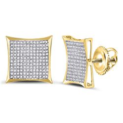 10kt Yellow Gold Round Diamond Dangle Pendant 1/5 Cttw