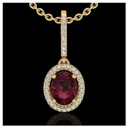 1.01 ctw VS/SI Diamond Solitaire Art Deco Necklace 18K Yellow Gold
