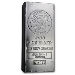 100 oz Silver Bar - Sunshine (1984/Vintage/Struck)