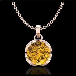 1.75 ctw Citrine & VS/SI Diamond Necklace 14K Rose Gold