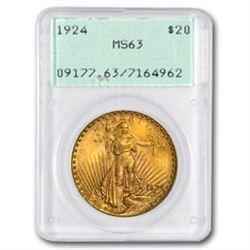 1924 $20 Saint-Gaudens Gold Double Eagle MS-63 PCGS (Rattler)