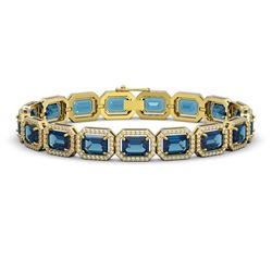 20.67 ctw Opal & Diamond Bracelet 14K Yellow Gold