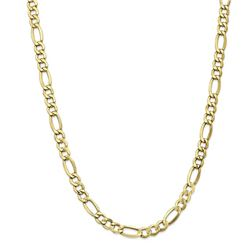 10k Yellow Gold 7.3 mm Semi-Solid Figaro Chain - 26 in.