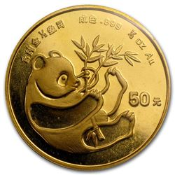 1984 China 1/2 oz Gold Panda BU (Sealed)