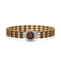 19.82 ctw Amethyst & Diamond Halo Bracelet 10K Rose Gold