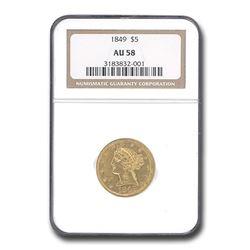 1849 $5 Liberty Gold Half Eagle AU-58 NGC