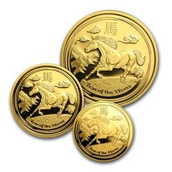 2014 Australia 3-Coin Gold Horse Proof Set (SII)