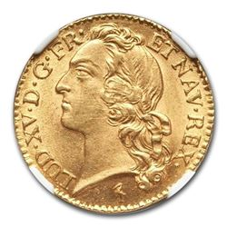 1744-W France Gold Louis D'or MS-65+ NGC