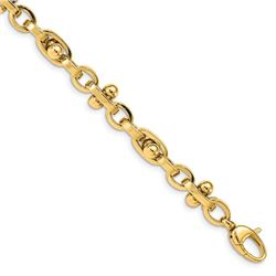 14k Yellow Gold Polished Fancy Knob Link Bracelet - 7.5 in.