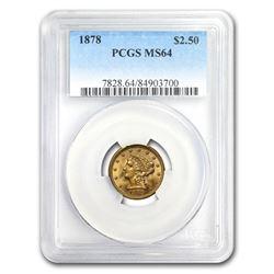1878 $2.50 Liberty Gold Quarter Eagle MS-64 PCGS