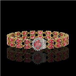 15.20 ctw Jade & Diamond Halo Bracelet 10K White Gold