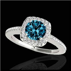 1.85 ctw VS Black Diamond Solitaire Halo Ring 10K White Gold