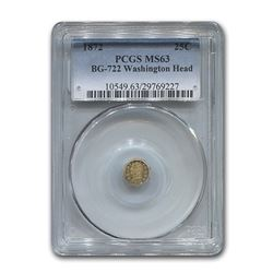 1872 Washington Head Octagonal 25¢ Gold MS-63 PCGS (BG-722)