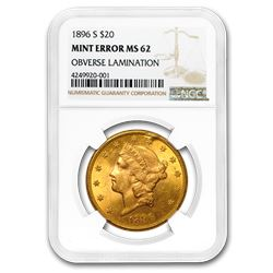 1896-S $20 Liberty Gold Dbl Eagle MS-62 NGC (Error\, Obv Lamin.)
