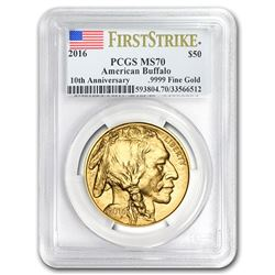 2016 1 oz Gold Buffalo MS-70 PCGS (FirstStrike®\, Flag Label)