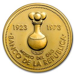 1973 Colombia Proof Gold 1500 Pesos Gold Museum Bogota