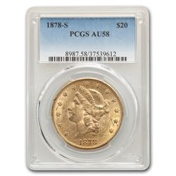 1878-S $20 Liberty Gold Double Eagle AU-58 PCGS