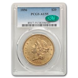 1856 $20 Liberty Gold Double Eagle AU-55 PCGS CAC