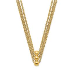 14k Yellow Gold 3 Strand Beaded Necklace - 17 in.