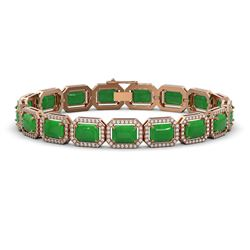 2.62 ctw Emerald & Diamond Bracelet 10K White Gold