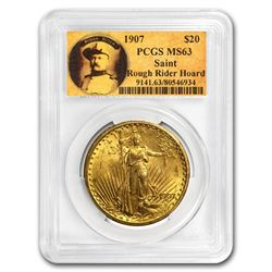 1907 $20 Saint-Gaudens Gold No Motto MS-63 PCGS (Rough Rider)