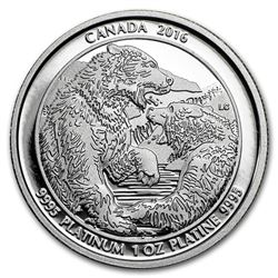 2016 Canada 1 oz Proof Platinum $300 Grizzly Bear: The Struggle
