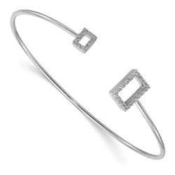 14k White Gold .27ct Diamond Recatangle Flexible Bangle - 7 in.