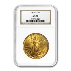 1928 $20 Saint-Gaudens Gold Double Eagle MS-67 NGC
