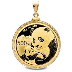 2019 30 gram Gold Panda Pendant (Diamond-Cut Screw Top Bezel)