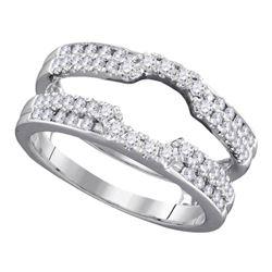 14kt White Gold Round Channel-set Diamond Single Row Wedding Band 1.00 Cttw