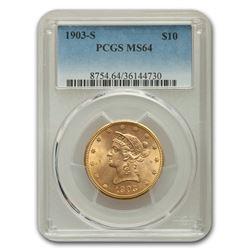 1903-S $10 Liberty Gold Eagle MS-64 PCGS