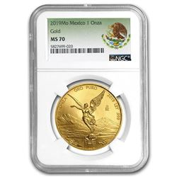 2019 Mexico 1 oz Gold Libertad MS-70 NGC (Coat of Arms Label)
