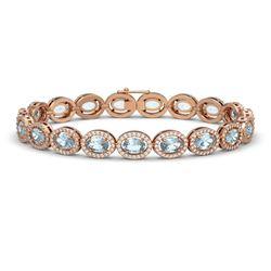 16.96 ctw Tanzanite & Diamond Bracelet 14K Rose Gold