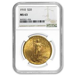 1910 $20 Saint-Gaudens Gold Double Eagle MS-63 NGC
