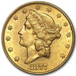 1877 $20 Liberty Gold Double Eagle AU