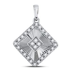 10kt White Gold Round Diamond Cluster Double Frame Square Pendant 1/3 Cttw