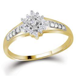 10kt White Gold Princess Diamond Double Halo Bridal Wedding Engagement Ring Band Set 1/10 Cttw