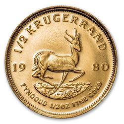 1980 South Africa 1/2 oz Gold Krugerrand BU