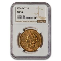 1874-CC $20 Liberty Gold Double Eagle AU-53 NGC