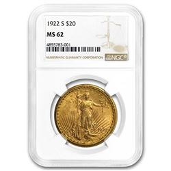 1922-S $20 St. Gaudens Gold Double Eagle MS-62 NGC
