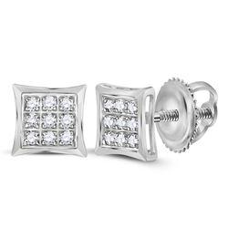 10k White Gold Round Pave-set Diamond Journey Dangle Screwback Stud Earrings 1/4 Cttw