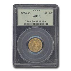 1852-O $2.50 Liberty Gold Quarter Eagle AU-50 PCGS