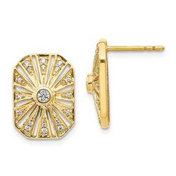 14k Yellow Gold .212ct Diamond Vintage Art Deco Earrings - 15 mm