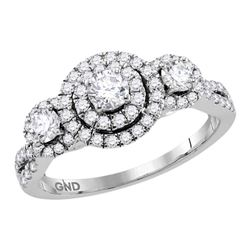 14kt White Gold Round Diamond Halo Bridal Wedding Engagement Ring Band Set 5/8 Cttw