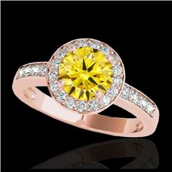 2 ctw VS Black Diamond Solitaire Halo Ring 10K Rose Gold