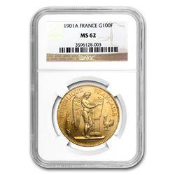 1901-A France Gold 100 Francs Angel MS-62 NGC