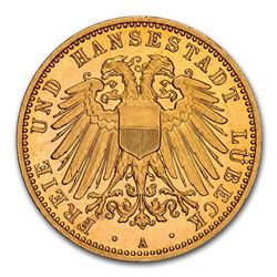 1905 German States Lubeck Gold 10 Mark PF-65 NGC (UCAM)